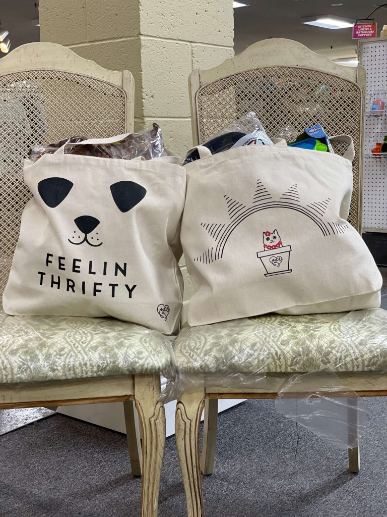 Thrift store bin sale tote bags.